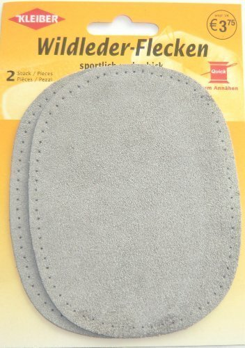 Wildlederflicken 2er Pack oval taubengrau