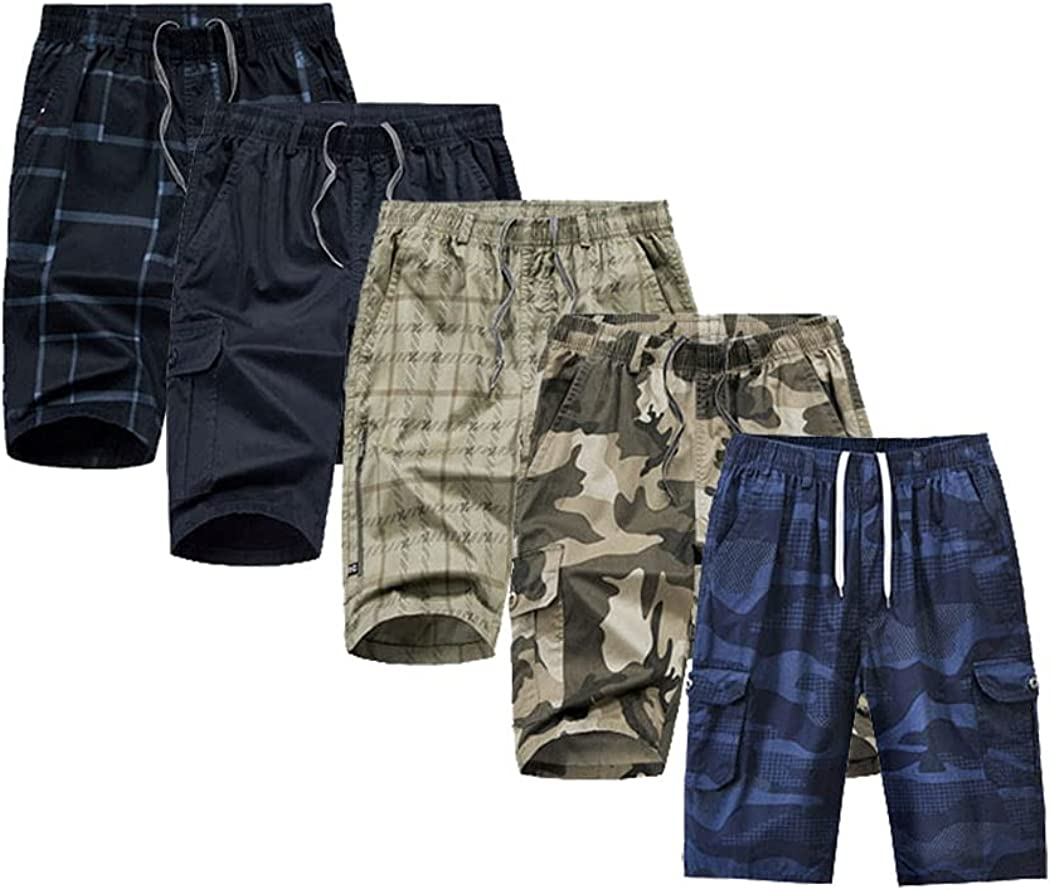 Ufehaho Men Shorts 5 Pack Relaxed Fit Casual Big and Tall Camo Shorts for Men Cargo Shorts