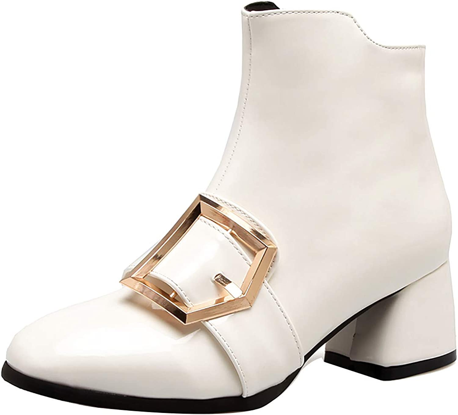 Jushee Womens Juintr 5.5 cm mid-Heel Ankle Zipper Patent-Leather Boots