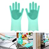 Simxen Magic Silicone Gloves with Wash Scrubber, Reusable Brush Heat Resistant Gloves Kitchen