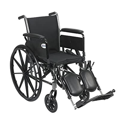 Drive Medical Cruiser III Light Weight Wheelchair with Various Flip Back Arm Styles and Front Rigging Options, Flip Back Removable Full Arms/Elevating Leg Rests, Black, 18 Inch by Drive Medical