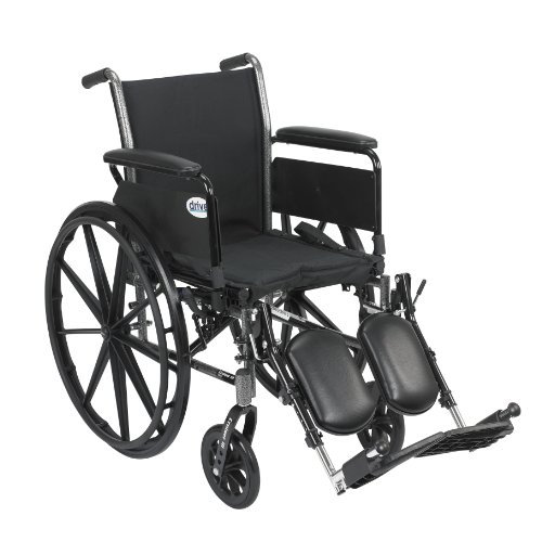 Drive Medical Cruiser III Light Weight Wheelchair with Various Flip Back Arm Styles and Front Rigging Options, Flip Back Removable Full Arms/Elevating Leg Rests, Black, 18 Inch
