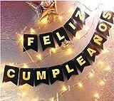 UNISHOP Guirnalda de Feliz Cumpleaño en Negro con Letras Doradas y Luces LED, Decoración para Fiestas