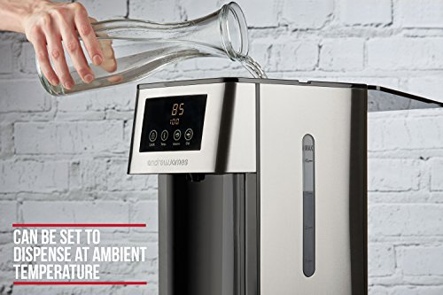 Andrew James Hot Water Dispenser with Filter | 4 Litre Capacity for Tea Coffee & Pot Snacks | Variable Temperature & Volume Settings Up to 26 Cup | Stainless Steel