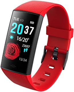 Smart Sports Bracelet Real-time Blood Pressure Heart Rate Monitoring Smart Watch Remote Control Camera IP67 Waterproof Information Reminder Multi-Function Electronic Watch (Color : Red)
