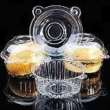 Scatola usa e getta per cupcake, 100 pezzi, trasparente, per muffin, insalata, formaggio, panna, fata Taglia unica trasparente