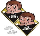 Carteles de Bebé a Bordo con Ventosas para Coches Pack de 2 Unidades Aviso Advertencia de Seguridad Reflectante Impermeable Baby on Board sin Residuos