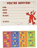 amscan Sesame Street Elmo Turns One Postcard Invitation. 8ct, Multicolor, 4 1/4' x 6 1/4' (491835)