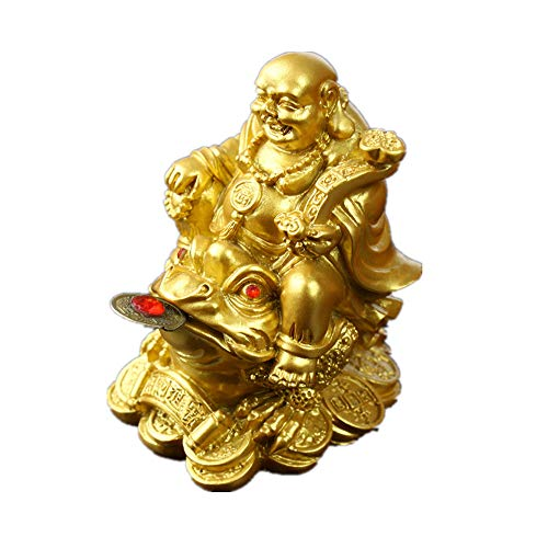 Feng Shui Polyresin Laughing Buddha Sit on Money Frog (Three Legged Toad) Statue Home Office Décor(Gold)
