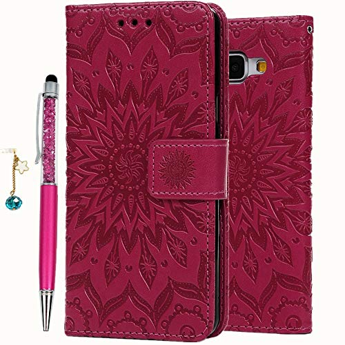 Geniric PU Leder Flip Hülle für Samsung Galaxy A5 2016 Case (Rose Rot Sonnenblume), Wallet Cover in Book Style Stand Karteneinschub Tasche Magnet Kratzfestes Stoßfest mit Stylus Stift Staubstecker