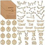 48 Pieces Zodiac Charms for Jewelry Making, 4 Styles Diamond Alphabet Alloy Zodiac Pendants Gold 12 Zodiac Charms Horoscope Sign Necklace with 24 Zodiac Cards