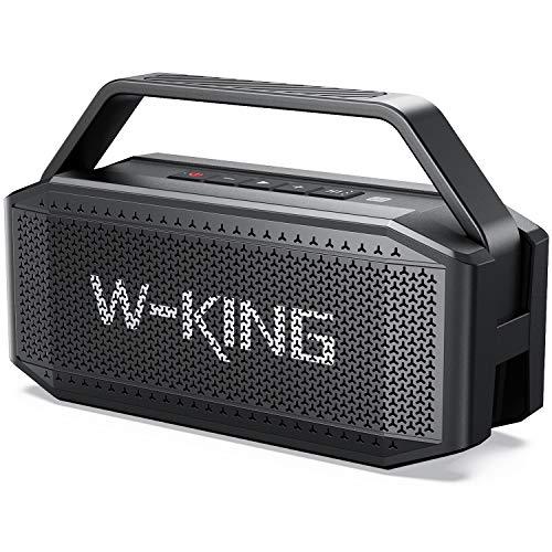 Altavoz Bluetooth, W-KING 60W Altavoces Potente, 40h de Reproducción, 12000mAh Batería, Portátil impermeable speaker Bluetooth con microfono, TWS, NFC y Tarjeta TF