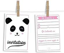 6 cartes et enveloppes invitation anniversaire | Anniversaire fille ou garçon | Thème Panda