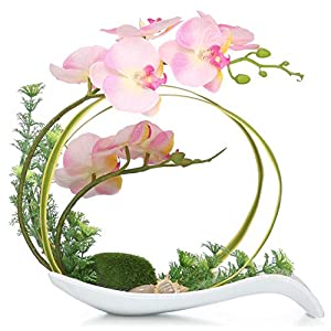 NNEE Artificial Phalaenopsis Orchid/Silk Flower Arrangement with Decorative Flower Pot – Pink Orchild A323