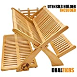 Earth's Dreams Bamboo Dish Drying Rack – Collapsible Dish Drying...