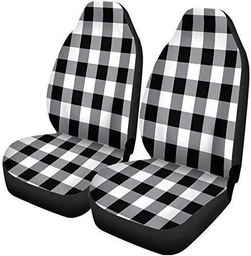 Set van 2 Autostoelhoezen Patroon Zwart Gingham Tartan Plaid Picknic Abstract Mand Buffalo Universele Auto Voorstoelen Beschermer Past Voor Auto
