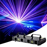 DJ Party Lights, AOELLIT Stage Lights 4 Lens RGBY Sound Activated DJ Led Projector Party Lights Compatible with DMX512 Controller for Disco Dance Events Show Upgrade