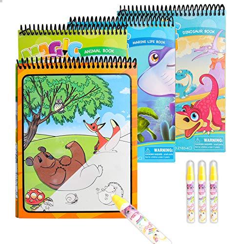 Sunarrive Wassermalbuch - Malen mit Wasser Buch - Zaubermalbuch Wasser Malbuch - Reisespiele Spielzeug Geschenk für Kleinkinder Kinder Junge Mädchen ab 2 3 4 5 Jahre (Dinosaurier-Tiere-Unterwasser)
