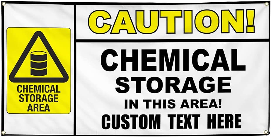 Custom Popular overseas Vinyl Banner Multiple Sizes Storage Saf High quality new Caution Chemical