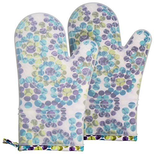 2 Oven Mitts and 2 Pot Holders Set, Soft Fabric Lining with Non-Slip Surface, Heat Resistant Kitchen...