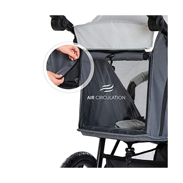 Hauck Runner, Jogger Style, 3-Wheeler, Pushchair with Extra Large Air Wheels, Foldable Buggy, For Children from Birth to 25kg, Lying Position - Silver Grey Hauck LONG USE - This 3-wheel pushchair is suitable from birth (in lying position or in combination with the 2in1 Carrycot) and can be loaded up to 25kg (seat unit 22 kg + basket 3 kg) ALL-TERRAIN - Thanks to the big air wheels - back 39cm diameter, front 30 diameter – as well to the swiveling and lockable front wheel, this jogger style pushchair can be used on almost any terrain COMFORTABLE - Thanks to adjustable backrest and footrest, sun canopy, large shopping basket, and height-adjustable push handle 7