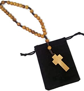 Threaded Olive Wood Anglican Brown Rope Rosary Velvet Pouch - Hand Made in Bethlehem