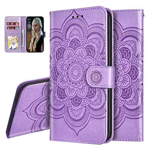 IMEIKONST Funda para Moto G9 Play Embossed Libro de Cuero Billetera Premium Phone Case Flip Folio Card Slot Holder Magnetic Stand Funda para Motorola Moto G9 Mandala Purple LD