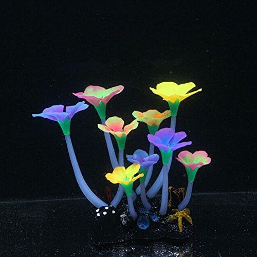 sourcing map Tiges épaisses Multi Couleur Effet Lumineux Fleurs artificielles Pierre pour Aquarium