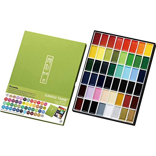 Kuretake GANSAI TAMBI Watercolor 48 Colors Set, Handcrafted, Professional-Quality Pigment Inks for Artists and Crafters, AP-Certified, Blendable, Show up on Dark Paper, Made in Japan