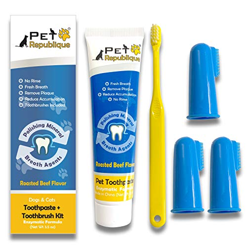 Pet Republique Dog Toothbrush Series Pack of 6 or 3 – Cat and Dog Finger Toothbrush, Handle Toothbrushes for Dogs, Cats, and Most Pets (Toothpaste Kit, Toothpaste & Finger Toothbrushes)
