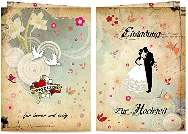 90 Einladungen zur zur zur Hochzeit Märchenhochzeit zum selber Ausfüllen - Klappkarten A6 mit KuGrüns B07BH3LFV3 | Elegante Form  f3d121