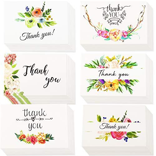 INTVN Tarjetas de Agradecimiento con Sobres Tarjetas de felicitación para bodas, Graduación, Baby Shower, Aniversario, Cumpleaño 36 Piezas