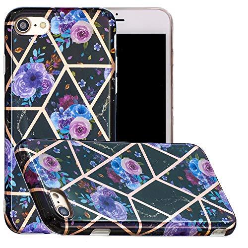 Miagon Geometric Marble Marbre Coque pour iPhone 6/6S,Galvanisé Svelte Doux Souple Silicone Gel Case Bumper Cover Étui Housse pour Filles,Bleu Fleur