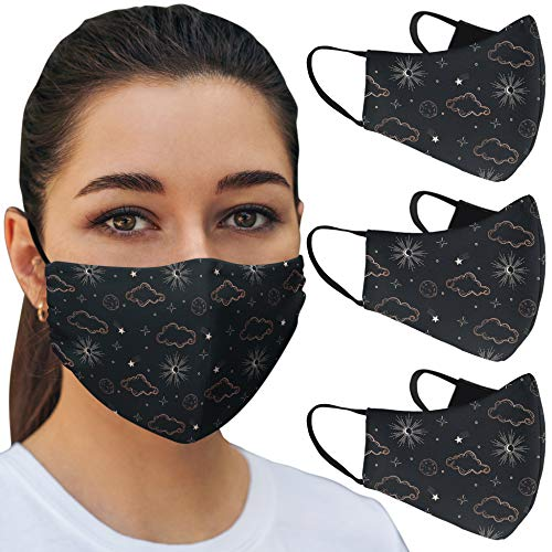 OJOS Designer Mouth and Nose Mask (3 Pack) with 3 Filter Layers, Washable and Reusable, Breathable Skin Comfort Funny and Cute Designs Printed for Men & Women & Youth