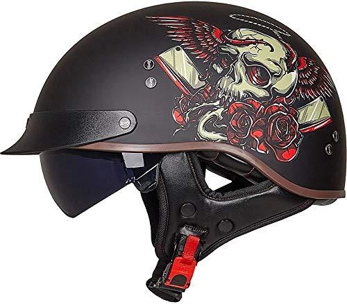 Medio Casco De Motocicleta Casco Abierta De Moto,Con Visera Aprobada DOT - Gorra De Calavera Unisex Para Adultos Para Bicicleta, Scooter, Casco De Verano Half Helmet 6,XL