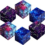 6 Pieces Infinity Cube Prime Fidget Toy for Stress and Anxiety Relief Sensory Tool Fidgeting Game Supplies (Starry Color, Starry Blue, Starry Purple)