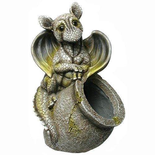 Kremers Schatzkiste Drachenkind mit Pflanztopf Pflanzkübel Drache Gargoyle Figur Gartenfigur Garten