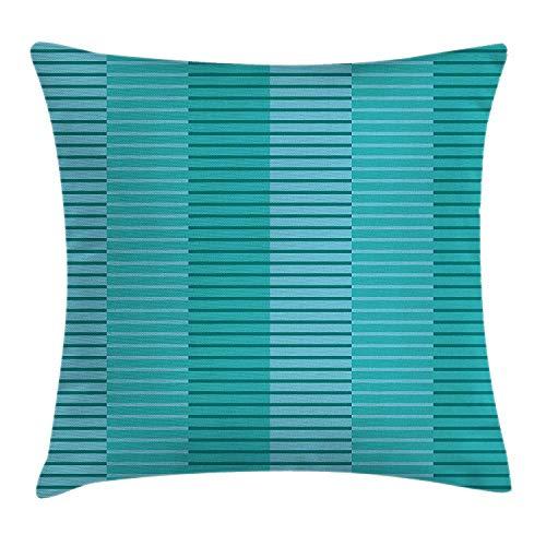 QUEMIN Funda de cojín con decoración Abstracta, diseño de Rayas abstractas, Imagen Digital en Azul Claro y Verde Kelly