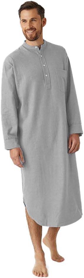 LZJDS Men's Robe Nightshirts Cotton Pajamas O-Neck Retro Nightgown Long Sleeve Pyjamas Button Muslim Robe Bathrobe,Gray,XL