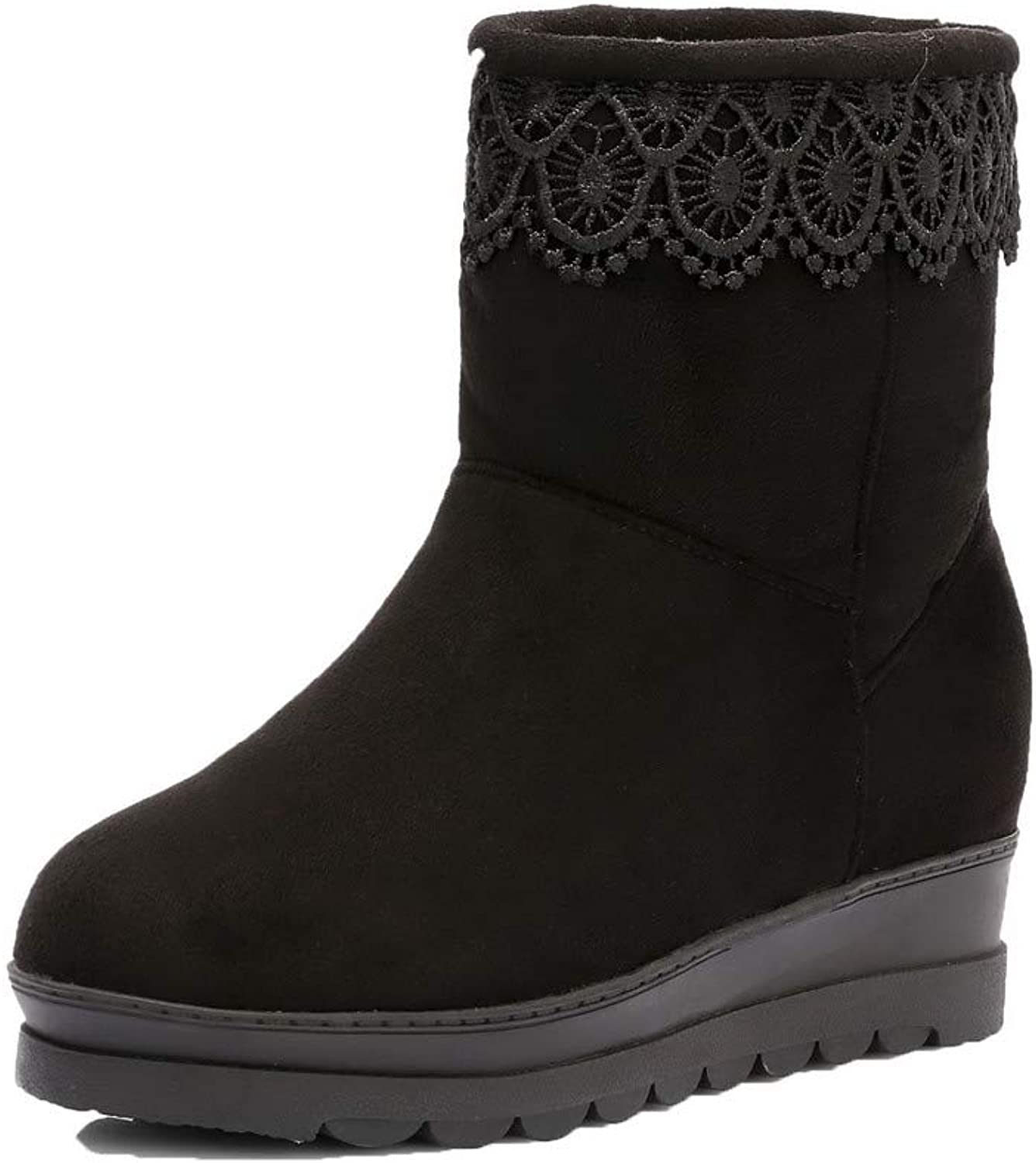WeiPoot Women's Pull-On Low-Heels Imitated Suede Solid Low-Top Boots, EGHXH126808