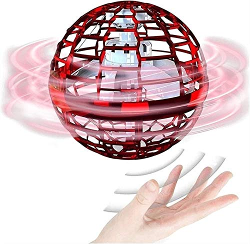 HSY SHOP Flynova Pro Spinner with LED Light, Globe Shape Magic Controller Mini Drone, Spin Fast Controller Flying Ball Drone Flying Toy for Children Adults Indoor Outdoor (Color : Red, Size : A)