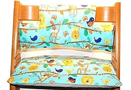 Kinderstuhlkissen passend für Tripp Trapp, Stuhlauflage, Affe, Löwe, Vogel, Sitzkissen, C-Fashion-Design (Clown beschichtete Baumwolle)