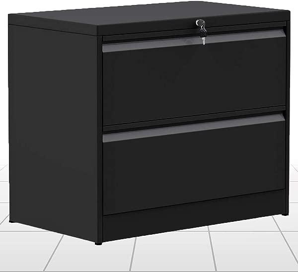 Lockable Lateral File Cabinet 2 Drawer Filing Cabinet Metal Key Lock 3 Drawer Office Horizontal Steel Organizer