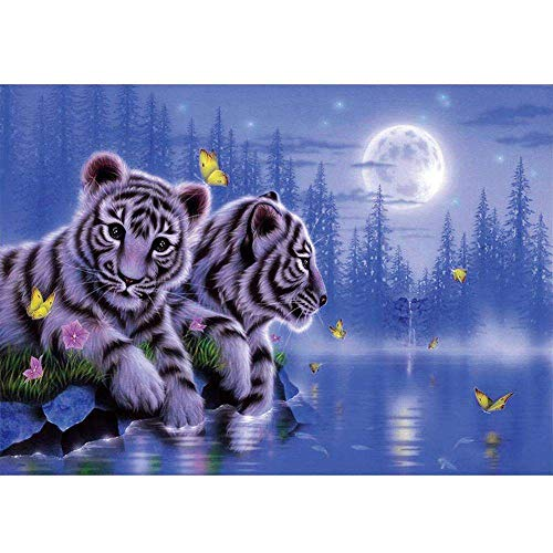 QGWMCD DIY 5D Diamond Painting Moonlight Lake Animal Tiger Full Drill Painting Rhinestone Embroidery Pictures Cross Stitch Arts Crafts for Home Wall Decor 11.8 inchx15.7 inch (Frameless)