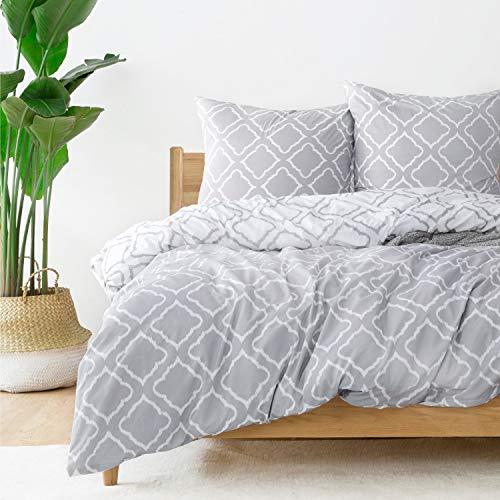 Bedsure Bettwäsche 155X220 Mikrofaser 3 teilig - grau Bettbezug Set mit Gitter Muster, weiche Flauschige Bettbezüge mit Reißverschluss und 2 mal 80x80cm Kissenbezug