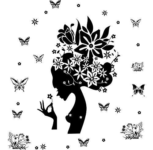 MMLFY Muurstickers Vlinders Muursticker Leuke Behang Meisje Zwart Bloemen Verwijderbare Vinyl Wall Art Sticker Muurstickers Poster