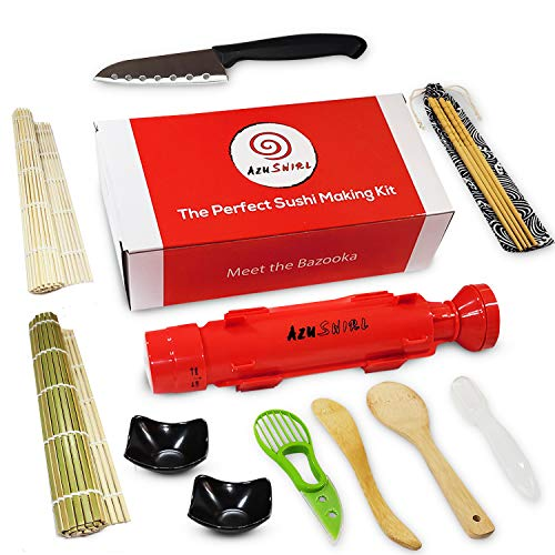 Sushi Making Kit for Beginners – DIY Sushi Making Kit makes a great date night or fun family meals - Make sushi at home with your easy to use Sushi Rolling Kit - Sushi Bazooka kit