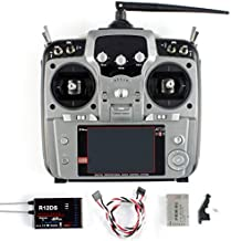 Radiolink AT10 II 2.4Ghz 12CH 12 Channel Remote Controller System Radio Transmitter & R12DS Receiver PRM-01 Voltage Return Module for DIY FPV RC Helicopter Quadcopter Drone (Grey)