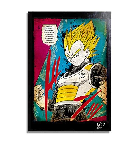 Super Saiyajin Vegeta de Dragon Ball Super (Akira Toriyama) - Pintura Enmarcado Original, Imagen Pop-Art, Impresion Poster, Impresion en Lienzo, Cuadro, Comics, Cartel de la Pelicula, Manga, Anime