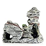 JONJUMP Material de resina Vista a la montaña Acuario Cueva Árbol Puente Pecera Ornamento Decoración Landscap Decorativo